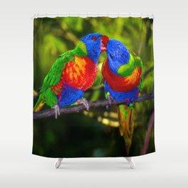 parrots kissing Shower Curtain