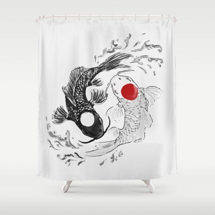 Koi fish ying yang shower curtain by maioriz society6 for Koi fish bathroom decorations