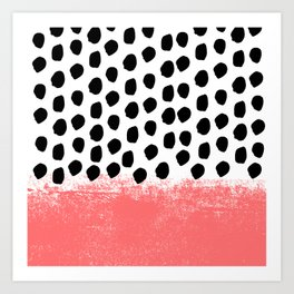 Lola - painted dot minimal coral black and white trendy abstract home decor Art Print