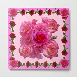 CONTEMPORARY  RED & PINK ROSES PINK PATTERNs Metal Print