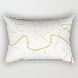 New Orleans White and Gold Map Rectangular Pillow