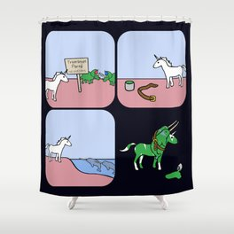 Unicorn And Narwhals As Triceratops Party Shower Curtain