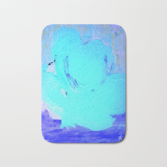 Neon Winter Rose, Abstract In Nature, Ice Blue Bath Mat