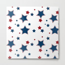 Red and blue stars on white background Metal Print