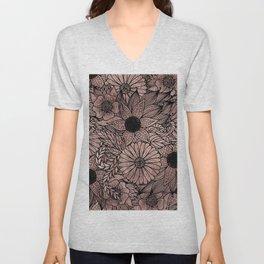 Floral Rose Gold Flowers and Leaves Drawing Black Unisex V-Neck