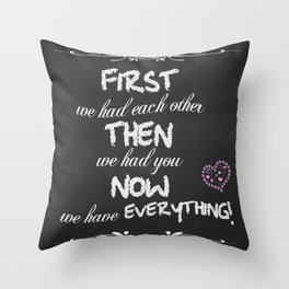 New Baby Chalkboard Typography Throw Pillow