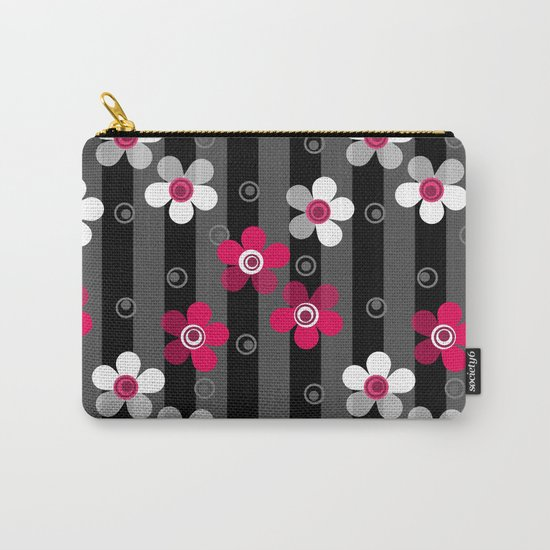 Crimson and white flowers on a black striped background Carry-All Pouch