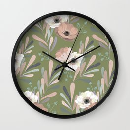 Anemones & Olives - Green Wall Clock