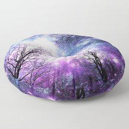 Black Trees Violet Purple Blue Space Floor Pillow