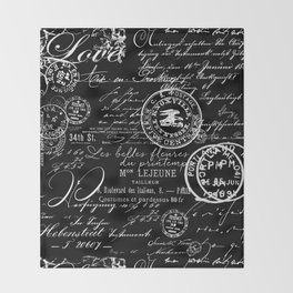 White Vintage Handwriting on Black Throw Blanket