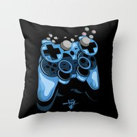gamer Throw Pillows featuring Gamer by Hey Yet