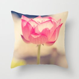 Pink Water Lotus Throw Pillow