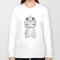 tintin Long Sleeve T-shirts featuring A Boy - Shark by Christophe Chiozzi