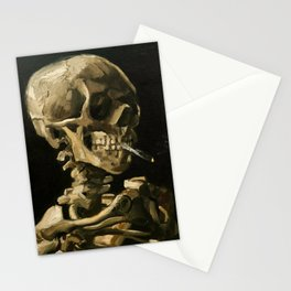 Skull Of A Skeleton With Burning Cigarette Stationery Cards
