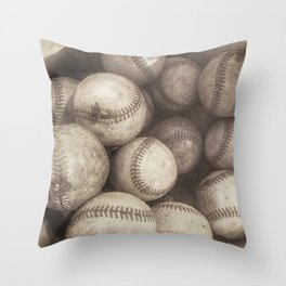 Bucket of Old Baseballs in Sepia Throw Pillow