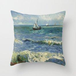 Seascape near Les Saintes-Maries-de-la-Mer Throw Pillow