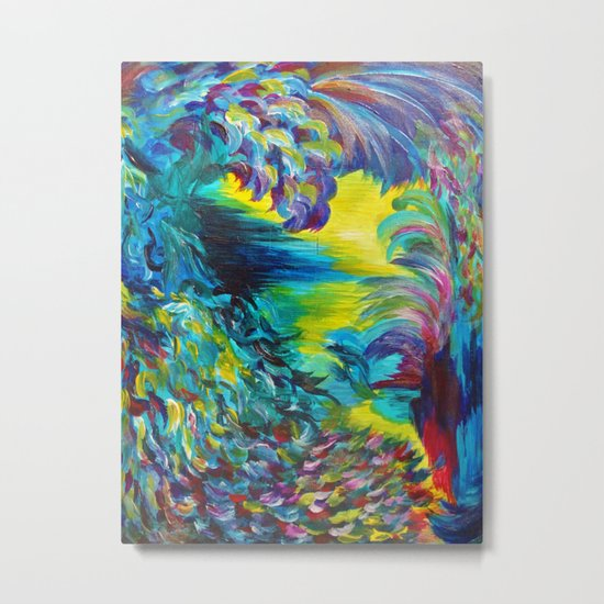 FLIGHT ON TAP - Whimsical Colorful Feathers Fountain Peacock Abstract Acrylic Painting Purple Teal Metal Print