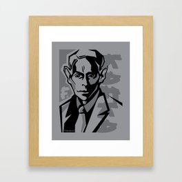 Kafka portrait in Black & Dark Greys Framed Art Print