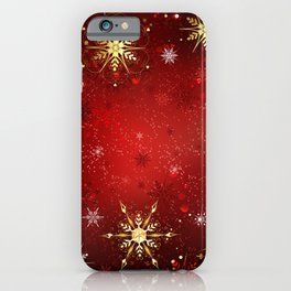 Red Background with Gold Snowflakes iPhone Case