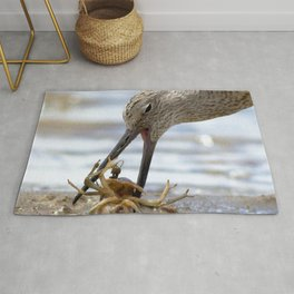 Watercolor Bird, Willet 09, Eating Rusty Crayfish, Longmont, Colorado, A Mouthful! Rug