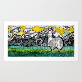 Llama and Andes Art Print
