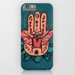 Hamsa Hand and the Beetle Pink & Teal Green_ digital painting iPhone Case