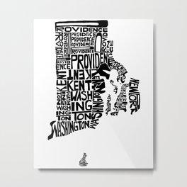 Typographic Rhode Island Metal Print