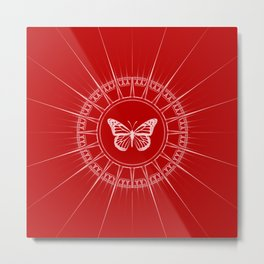 Bright Red and White Butterfly Design Metal Print