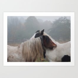 Two Horses Meeting Art Print