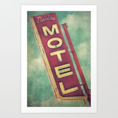 Paradise Motel Sign Art Print