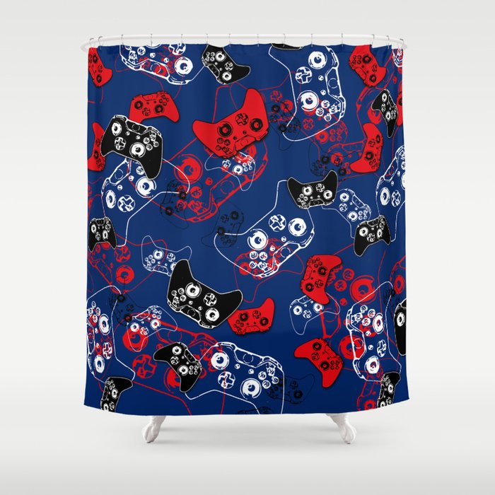Video Game Red White & Blue 1 Shower Curtain