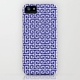 Navy and White Greek Key Pattern iPhone Case