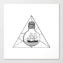 Graphic . geometric shape black ship in a bottle Canvas Print