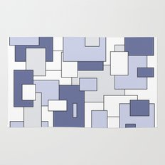 Squares -  gray, blue and white. Rug
