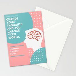Change Your Thoughts And You Change Your World | Norman Vincent Peale Quote Stationery Cards