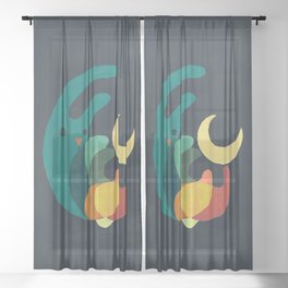 Rabbit and crescent moon Sheer Curtain