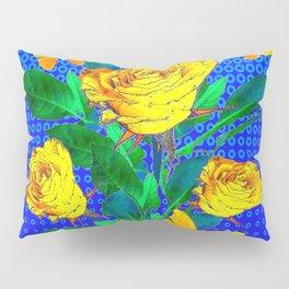 YELLOW BUTTERFLIES, ROSES, & BLUE OPTICAL ART Pillow Sham