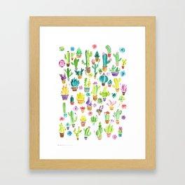 Happy Cactuses Framed Art Print