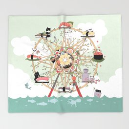 The Sushi Wheel Throw Blanket