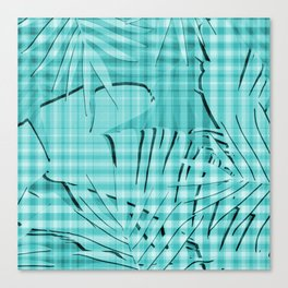 Turquoise Tropical Leaves Plaid Design Canvas Print