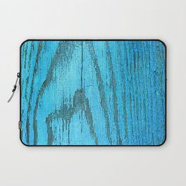 texture of the peeled-off paint on a tree.blue wood Laptop Sleeve