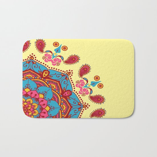 Frondescence Mandala Blue & Pink On Yellow Bath Mat