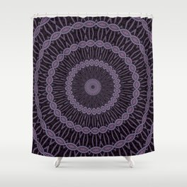 Eggplant and Pale Aubergine Circles Kaleidoscope Pattern Shower Curtain