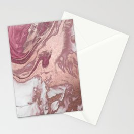 Rose Gold Pink White Painted Girly Abstract Marble Stationery Cards