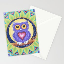Little Purple Owl Mandala, by Soozie Wray Stationery Cards
