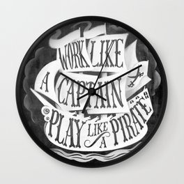 like  a pirate, black Wall Clock