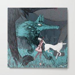 Woman Wolf wandering Metal Print