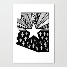 Black and White Arizona Patterned State Map Canvas Print