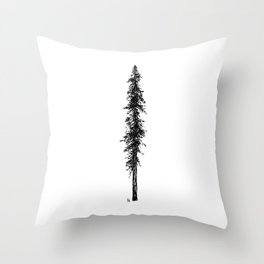 Love in the forest - a couple and their dog under a solitary, towering Douglas Fir tree Throw Pillow