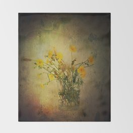 One Glass with pretty yellow weeds Throw Blanket